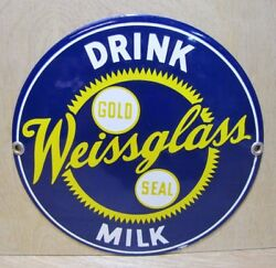 Orig Old Porcelain Drink Weissglass Gold Seal Milk Sign Staten Island Ny Dairy