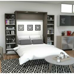 Bestar Cielo Classic 104 Queen Wall Bed Kit In Bark Gray And White