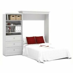 Bowery Hill 101'' Queen Wall Bed With 3 Drawer Storage Unit White