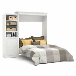 Bowery Hill 92and039and039 Queen Wall Bed With Door Storage Unit In White