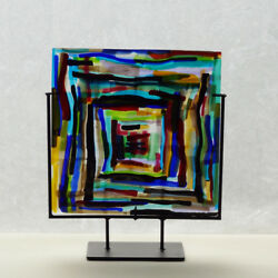 Art Glass Panel - Fused Glass - Squares In Square