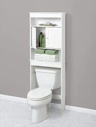 White Wooden Bathroom Storage Cabinet Space Saver Over The Toilet Shelf Doors