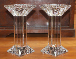 Pair Of Lenox Ovations Fine Crystal Candle Holders Germany 9x4x4 Brand New