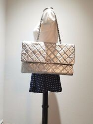 Authentic CHANEL Metallic Silver Crumpled Calfskin Flap Bag Clutch Shoulder Bag