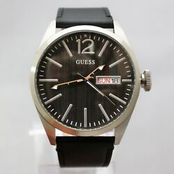 New Guess W0658g2 Date Black Leather Band Ip Steel Case Men Watch