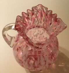 Fenton Glass Opalescent Pitcher  Clear Handle  Vintage 80oz  Approx 9 Tall