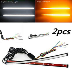 2x 30cm Switchback DRL LED Knight Rider Light Strip Tube Sequential Turn Signal