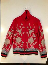 Men's Red Jersey Jacket With Metallic Gold Floral Embroidery Size Medium