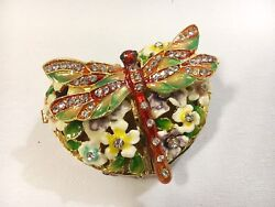 Red Dragonfly Heart Shape Bejeweled Trinket Box