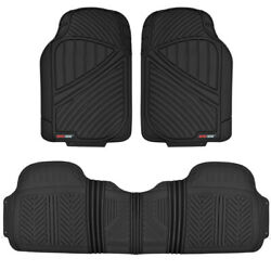 100 Odorless Car Suv Truck Floor Mats For All Weather Heavy Duty Rubber 3pc Set