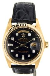 Men Rolex Day-Date President Solid 18K Yellow Gold Watch Black Diamond Dial 1803