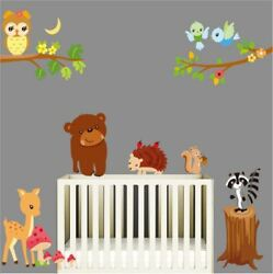Wall Sticker Zoo Animal Bear Squirrel Removable Kids Nursery Baby Room