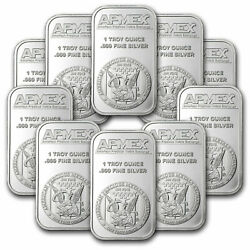 1 oz Silver Bar APMEX Lot of 10 Bars .999 Fine Silver $265.60