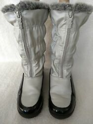 WOMEN'S TOTES WATERPROOF BOOTS LOW TO MID CALF SIZE 7 M LITE GRAY BLACK FAUX FIR $19.95