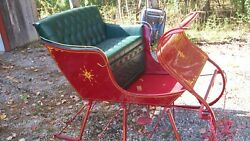 Maroon Portland Cutter Horse Drawn Sleigh with green upholstery!