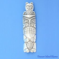 Native American Indian Totem Pole 925 Sterling Silver Pendant MADE IN USA $29.95