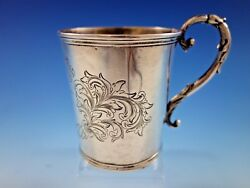 Tifft And Whiting Coin Silver Baby Childand039s Cup Mug B.c. Scroll Work Dated 1-18-52
