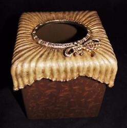 Jay Strongwater Kleenex Tissue Box Cover Holder Brown Dragonfly Jewels