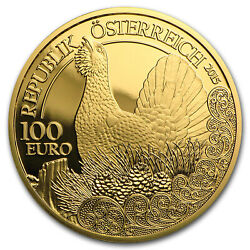 2015 Austria Prf Gold €100 Wildlife In Our Sights Capercaillie - Sku 94617