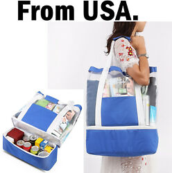 Shopping Bag Tote Mesh Lunch Insulated Cooler Beach Shoulder Cart Pocket Ice Can