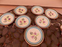 Stangl Art Pottery Hand Painted Country Garden Coaster Plates 4 3/4 S/7
