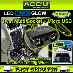 Ring Rms14 12v Car Twin 2 Multi Socket + Micro Usb Charger Adapter With Switches