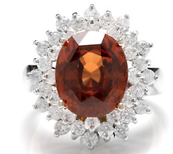 10.50 Carats Natural Orange Zircon And Diamond 14k Solid White Gold Ring