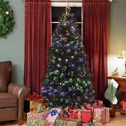 Fiber Optic 7' Artificial Christmas Tree Led Multicolor Lights /stand Ornaments.
