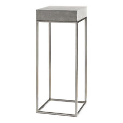 Modern Silver Concrete Top Pedestal Table   Plant Stand Square Gray Industrial