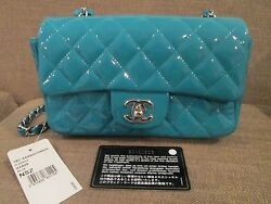 NEW Auth CHANEL Classic mini Flap Quilted Cross Body Bag Patent Blue ~ SOLD OUT~