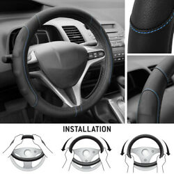 Synthetic Leather Steering Wheel Cover Black W/ Blue Stitching Sport Grip Small