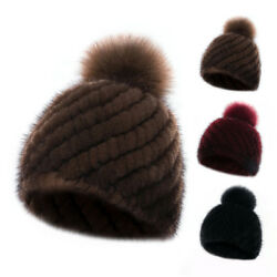 Mink Fur Hat Warm Knitted Beanies Cap With Cape Fox Fur Peas Cute For Womens New