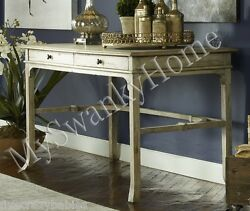 Distressed Aged White Writing Desk Table Cottage Chic Vintage Antique Wood