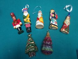 Russian Christmas Ornaments Hand Carved And Handpainted Lot