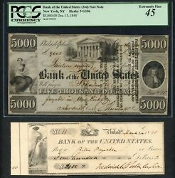 Bank Of The U.s. New York 5000 Haxby 3-g106 12/15/1840 Pcgs 45 Xf Rare Wlm4763