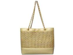 AUTHENTIC CHANEL Chain Bag Beige Leather Straw Grade AB USED -CJ