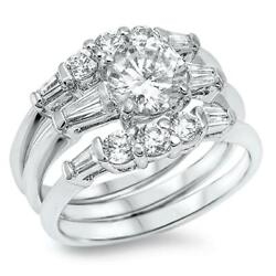 White Cz Unique Polished Wedding Ring Set .925 Sterling Silver Band Sizes 5-10