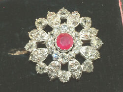 Antique 14 Ct Gold Diamond And Ruby Brooch 3.00 Carats Of Diamonds