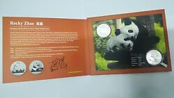 2011 And 2014 China 1 Oz Silver Panda W/limited Coin Designer Autographed Booklet