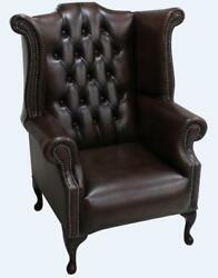 Chesterfield 1780's Queen Anne High Back Wing Chair Antique Brown Leather