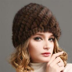 Russian Women Mink Fur cap Luxury knit mink fur hat winter Lady fur hat