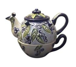 Tea-for-one Blueberry Hand-painted Ceramic Teapot, By Blue Sky Ceramics, 6 Tall