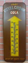 Old Drink Royal Crown Cola Soda Advertising Thermometer Sign Product Of Nehi