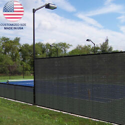 Customize 7FT Black Fence Privacy Screen Coated Polyester Mesh Commercial 250GSM