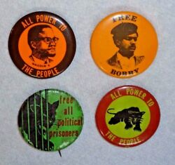 1960s Black Panther Party Black Power Malcolm X Bobby Seale 4 protest pinbacks