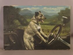 Antique ART DECO Roadster DOG drive CAR Old TERRIER Automotive FOLK ART PAINTING