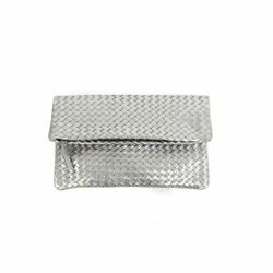 Hand Woven Leather Clutch Silver Handbag Evening Bag