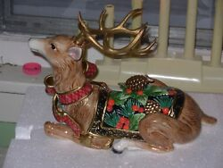 Fitz And Floyd Holiday Pine Reclining Deer/candle Holder - Retired
