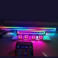 50 + 22inch Led Light Bar + 4x 3 Pods With Rgb Halo Chasing Bluetooth Control
