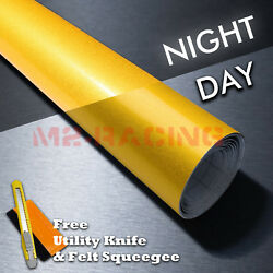 【reflective】 Yellow Diy Car Vinyl Wrap Sticker Decal Graphic Sign Adhesive Film